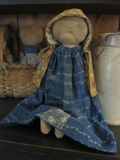 Fat Hen Farm Primitive Rag Doll Early Blue Calico | eBay