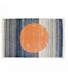Storebror Teppich Circle aus Baumwolle, orange/blau, 180x120cm - lefliving.de