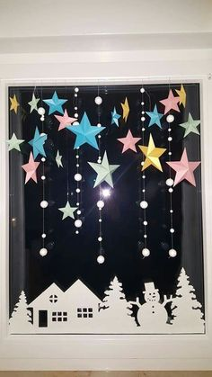 Simple and fun DIY Christmas decor ideas on a budget - holiday window decor .- Easy and Fun DIY Christmas Decor Ideas on a Budget – Holiday Window Decorations – decorations Food & Cooking - Budget Holiday, Christmas On A Budget, Christmas Crafts, Christmas Snowman, Christmas Holiday, Christmas Stars, Decoration Creche, Christmas Window Decorations, Holiday Decor