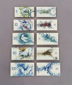 Hungarian Banknote Concept Designed by Barbara Bernát  http://www.thisiscolossal.com/2015/02/hungarian-banknote-concept-designed-by-barbara-bernat/