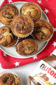 Easy Nutella Muffins recipe – These Nutella muffins are super easy to make, a basic cake mixture with the delicious addition of a spoonful of Nutella. A really simple and delicious chocolate cupcake, perfect for baking with children or for after school sn Muffin Recipes, Cupcake Recipes, Baking Recipes, Snack Recipes, Dessert Recipes, Baking Ideas, Nutella Muffins, Nutella Cupcakes, Baking Muffins