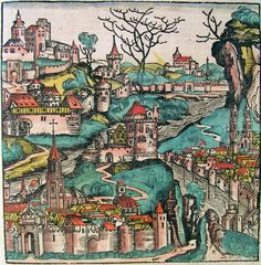Bohemia map, from the Nuremburg Chronicle, a late 15th c.-early 16th c. book.