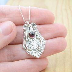 Spoon Pendant with Rhodolite Garnet  Handmade by metalsmitten, $75.00