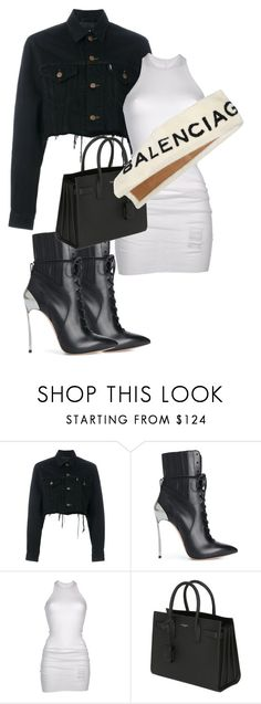 """""""Untitled #1887"""" by sadgirllmaya ❤ liked on Polyvore featuring Blackyoto, Casadei, DRKSHDW, Yves Saint Laurent and Balenciaga"""