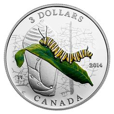 1/4 oz. Fine Silver Coin - Animal Architects: Caterpillar and Chrysalis - Mintage: 10,000 (2014)