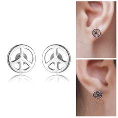 Peace Symbol Silver Earrings For Sale - Free Worldwide Shipping