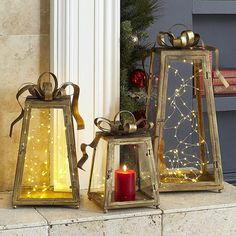 Unique Christmas decor idea: Simply place a few Glimmer Strings™ in our Present Lanterns.