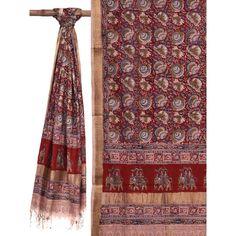 Red Kalamkari Printed Cotton Dupatta with Elephants Design Elephant Design, Printed Cotton, Red Color, Bohemian Rug, Prints, Ideas, Dresses, Home Decor, Vestidos