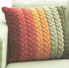 "Chunky Wool Cable Cushion Knitting Pattern 16"" ~ Knit in Strips ! Great Pattern"