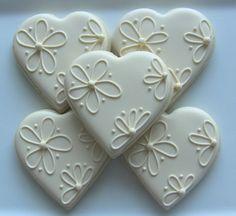 One Dozen Elegant Heart Decorated Sugar Cookies For Wedding, Anniversaryâ?¦