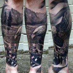 Realistic Eagle With Flag Mens Leg Sleeve Patriotic Tattoos