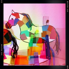 stain glass horse window ornament using tissue paper for camp