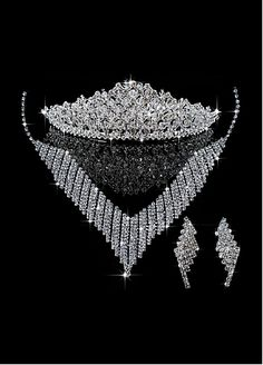 Glamorous First Class Austrian Diamonds & Stunning Rhinestones & Alloy Necklace & Earrigs & Tiara For Your Wedding Dress
