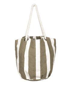 Gray Cabana Stripe Bucket Bag #zulily #zulilyfinds