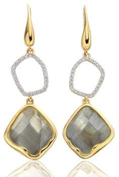 Gold Vermeil Riva Diamond & Labradorite Cocktail Earrings