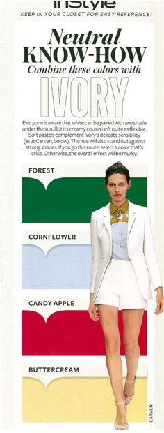 Instyle Neutral Know-How: IVORY, white, Kelly green, light sky blue, red, yellow
