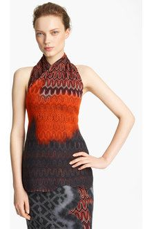 Missoni Knit Halter Top in Orange (red grey)