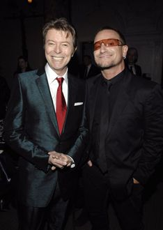 """The first time I saw him was singing Starman on television, it was like a creature falling from the sky. Americans put a man on the moon. We had our own British guy from space - with an Irish mother. - Bono"