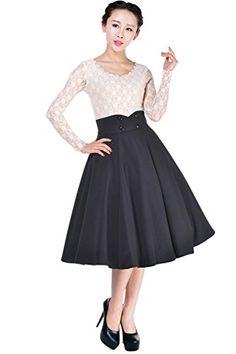 Fashion Bug Womens Pinup Lovely Office Lady Black High Waist Swing Full Circle Skirt www.fashionbug.us #plussize #fashionbug 16W 18W 20W 22W 24W 26W