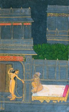 A night scene on a terrace, Kishangarh, second half 18th century gouache heightened with gold on paper, laid down on an album page with borders decorated with scrolling gold flowerheads painting: 20 by 12.7cm. leaf: 35.1 by 26cm.