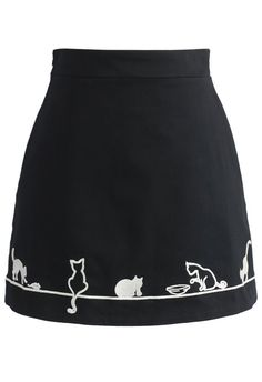 Adorable Kitten Embroidered Skirt in Black - New Arrivals - Retro, Indie and Unique Fashion