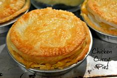 Curried Chicken Pies - these are absolutely to die for, FULL of flavor and using an easy hot water pastry and pre-cooked chicken Savory Pastry, Savoury Baking, Savoury Pies, Baking Pies, Filo Pastry, Curry Recipes, Pie Recipes, Cooking Recipes, Chicken Recipes