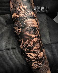 God Tattoos, Forarm Tattoos, Warrior Tattoos, Body Art Tattoos, Tattoos For Guys, Zeus Tattoo, Hercules Tattoo, Best Sleeve Tattoos, Tattoo Sleeve Designs