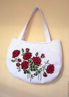 """Купить Сумочка """"Роза-всех цветов царица..."""" - бордовый, цветочный, роза, роза лентами"""