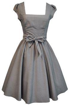 LADY VINTAGE Elegant Grey 50s Swing Dress - Sizes 8-22  Lady Vintage