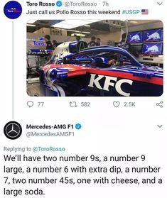 Formula 1 team Toro Rosso picks up KFC as a sponsor. X-post from Crazy Funny Memes, Stupid Funny Memes, Wtf Funny, Car Guy Memes, Car Jokes, Ms Dhoni Photos, Ferrari Car, Karting, Formula One