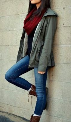 Jeans / black shirt/ red scarf/ military jacket, ankle boots. I have these things!