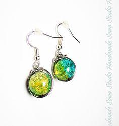Earring of  blue and yellow beads van Sowa Studio Handmade op DaWanda.com