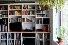 Keep that Vinyl & spin that turntable... builtins to house your collection.  Living Room by Corynne Pless