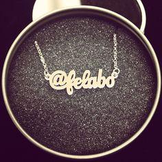 Custom sterling silver social media identity necklace.  http://survivalofthehippest.com/order.html