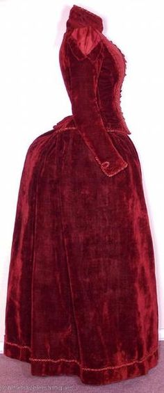 Orig c1890 Rich Wine Colored Silk Velvet Gown For Study. US $255.00 Sold.