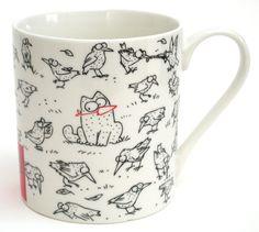 Simon's Cat BIRD Mug - look closely this coffee mug will make you smile. #Birds #cats. #Mugs