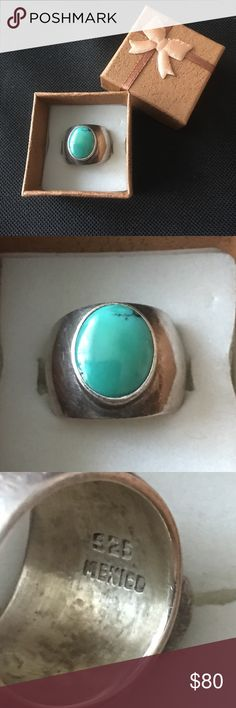 Vintage 925 Mexico heavy turquoise ring Vintage stamped 925 Mexico size 5.5 Heavy thick and solid turquoise ring in very good vintage condition Jewelry Rings