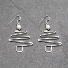 Wire Work Christmas Tree Earrings