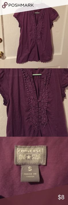 Converse Purple Boho Short Sleeve Top Small Great condition short sleeve purple boho top by Converse size Small no defects. If you're worried about fit, feel free to ask for measurements but please don't leave me neutral / negative feedback because the item doesn't fit! =) Converse Tops