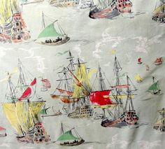 Vintage Curtain Fabric 5.2mtr Galleon Sailing Ships Boats green red yellow 1950s in Antiques, Fabric/ Textiles, Fabric | eBay