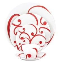 Philippe Deshoulieres Arpege Red Dinnerware - Made in France High-Quality Porcelain accented with swirls of Red & Gold These would be lovely for a Valentine's romantic dinner. Mom would appreciate the high quality porcelain. Corelle Dishes, Red Dinnerware, White China, Romantic Dinners, China Patterns, Red Gold, Swirls, Red And White, Christmas Decorations