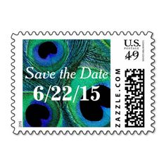 Personalized / Customized, Peacock Feather Save the Date Postage Stamps. Easy to customize -- simply add your own wedding, bridal shower, party, or special event date. Available horizontal or vertical, in different $ denominations for various size and weight announcements, a wide rage of colors, and other matching items (postal seals, favor stickers, invitations, napkins, favors, etc).