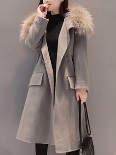 Damen Loser Wolljacke Mit Großem Fake Fur Kragen : Tidebuy.com de