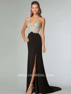 $219.99 2017 Elegant Sheath/Column V-Neck Sleeveless Beading Floor-Length Chiffon Prom Dresses 2015PD-76602 - ca-bridals.com