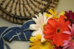 Make your own bouquet wrap with up-cycled denim scraps.