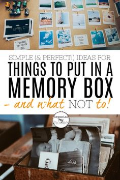 If you're stuck on what to put in a memory box that you want to create, then this article will really help! It has loads of ideas to create a perfect Memories Box, Baby Memories, Making Memories, Baby Keepsake, Keepsake Boxes, Shadow Box Memory, Memory Crafts, Memory Storage, Kids Boxing