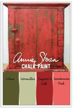 Annie Sloan Chalk Paint layered in greens and reds will create an aged look, like the finish on this primitive little cabinet. I like Annie Sloan Chalk Paint for my craft and furniture projects, … Chalk Paint Projects, Chalk Paint Furniture, Furniture Projects, Furniture Makeover, Diy Furniture, Dresser Makeovers, Kitchen Furniture, Red Painted Furniture, Paint Ideas