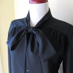 Bow Tie Secretary Blouse by simplevintage on Etsy