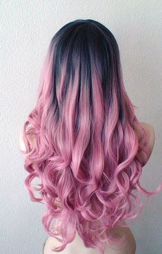 Hand dye Dark Brown roots Pastel Blush pink wig. Mauve Pink wig. Long wavy hair long side bangs wig  from www.favorwe.com shop