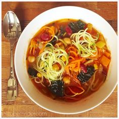 Spring Chili Soup With Zucchini & Carrot Noodles Recipe by Elizabeth Rider. Get more healthy recipes at www.elizabethrider.com. #recipe #Spring #food